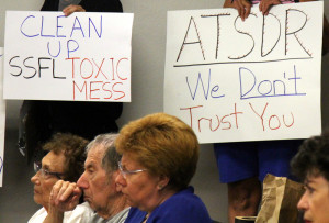 Rocketdyne Cleanup Coalition members protest at DTSC ATSDR meeting on September 8, 2015