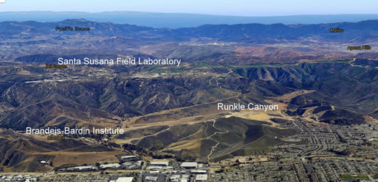 Pictured above: Google Earth imagery of SSFL, the Brandeis-Bardin Institute, and Runkle Canyon